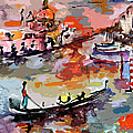 Abstract Venice Italy Gondolas by Ginette Callaway