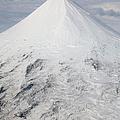 Aerial View Of Glaciated Shishaldin Print by Richard Roscoe