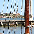 Alcatraz Island Through The Hyde Street Pier In San Francisco California . 7d14148 by Wingsdomain Art and Photography