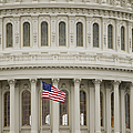 American Flag on the Capitol Building Print by Roberto Westbrook
