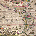 Antique Map of America Print by Jodocus Hondius