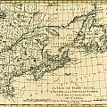 Antique Map of Eastern Canada Print by Guillaume Raynal