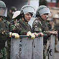 Argentine Marines Dressed In Riot Gear by Stocktrek Images