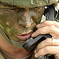 Army Master Sergeant Communicates by Stocktrek Images