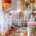 Autumn - House - My Aunts porch Print by Mike Savad