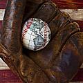 Baseball Mitt With Earth Baseball by Garry Gay