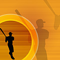 Baseball Player About To Swing, Silhouette (digital) by Chad Baker
