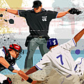 Baseball Player Safe At Home Plate by Greg Paprocki