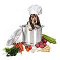 Basset Hound Dog in Big Cooking Pot Print by Susan  Schmitz