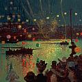 Bastille Day at Lorient Print by Henry Moret