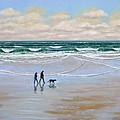 Beach Dog Walk Print by Frank Wilson