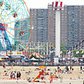 Beachgoers At Coney Island by Ryan McVay