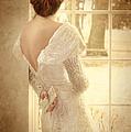 Beautiful Lady In Sequin Gown Looking Out Window by Jill Battaglia