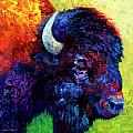 Bison Head Color Study III Print by Marion Rose