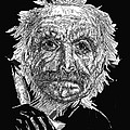 Black And White With Pen And Ink Drawing Of A Old Man  by Mario  Perez