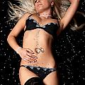 Blond In Black Lingerie Covered In Diamonds by Richard Thomas