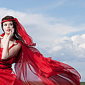 Blown Away Woman In Red Series by Cindy Singleton