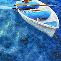 Blue And White. Lonely Boat. Impressionism by Jenny Rainbow