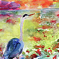 Blue Heron Sunset Watercolor By Ginette by Ginette Callaway