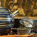 Blue Japanese Teapot by Sandra Cunningham
