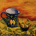 Blue Pitcher With Lemons by Phyllis  Smith
