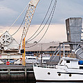 Boat And Old Crane Reflections by David Lade