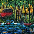 Boat Dock In The Evening by Reb Frost