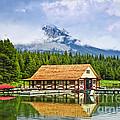 Boathouse On Mountain Lake by Elena Elisseeva