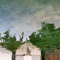 Boathouses with Sky and Trees Print by Michelle Calkins