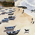 Boats On The Beach by Lucy Willis