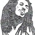 Bob Marley Black and White Word Portrait Print by Kato Smock