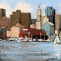 Boston Harbor Print by Laura Lee Zanghetti
