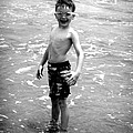 Boy at the Ocean 2 Print by Kelly Hazel