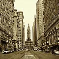 Broad Street Facing Philadelphia City Hall in Sepia Poster by Bill Cannon