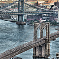Brooklyn And Manhattan Bridge by Tony Shi Photography