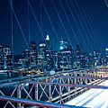 Brooklyn Bridge And Lower Manhattan By Night by Miemo Penttinen - miemo.net