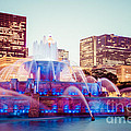 Buckingham Fountain And Chicago Skyline At Night by Paul Velgos