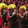 Buddist Monks At Nechung Monastery Print by Maria Stenzel