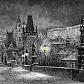 BW Prague Charles Bridge 06 Print by Yuriy  Shevchuk