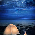 Camping Tent By The Lake At Night by Jill Battaglia