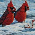 Cardinals In Winter by Tracey Hunnewell