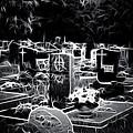 Cemetary at Night Print by Ellen Heaverlo