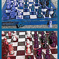 Chess Board - Game In Progress Diptych by Steve Ohlsen