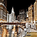 Chicago at Night at Wabash Avenue Bridge Print by Paul Velgos