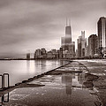 Chicago Foggy Lakefront BW Print by Steve Gadomski
