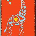 Childrens Art Gentle Giraffe on Orange Print by ArtyZen Kids