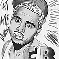 Chris Brown Cb Drawing by Kenal Louis