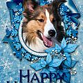 Christmas - Blue Snowflakes Sheltie by Renae Laughner