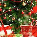 Christmas Cookies  Near The  Tree  by Sandra Cunningham