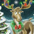 Christmas Moose Print by Hank Nunes